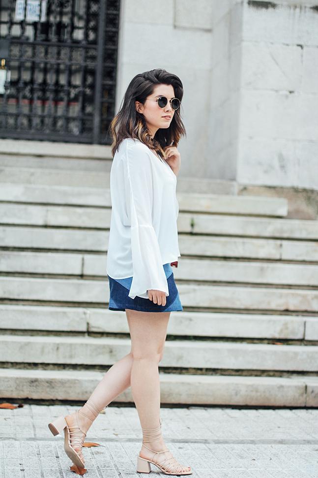 denim patchwork skirt with bell white blouse mango furla metropolis streetstyle myblueberrynightsblog
